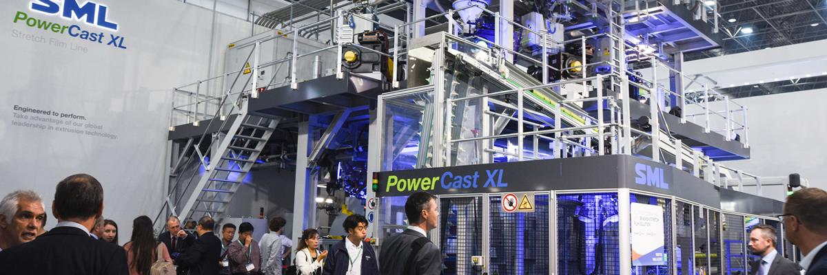 SML at K2019: high-volume PowerCast XL stretch film line in full operation